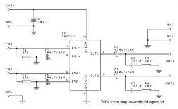 2x1W Stereo Amplifier with IC KA2209